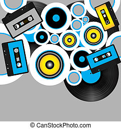 Retro Party Background - Audio Tapes and Vinyl Records on...