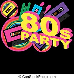 Retro Party Background - Audio Casette Tape and Disco Sign...