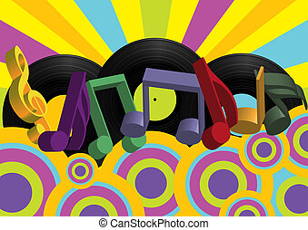 Retro Party Background - Notes and Vinyl Records on...