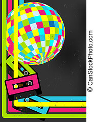 Retro Party Background - Retro Audio Cassette Tapes, Disco...