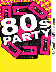Retro Party Background - Vinyl Record, Audio Tapes and 80s...