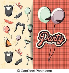 retro party card with accessories set