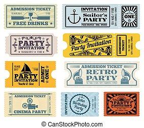Retro party, cinema, invitation vector tickets set