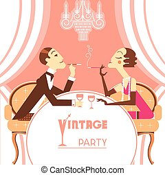 Retro party illustration with couple lovers