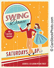Retro party invitation - Vector retro dancing party...