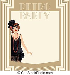 Retro party Invitation - Vector illustration of a woman...