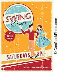 Retro party invitation - Vector retro dancing party...