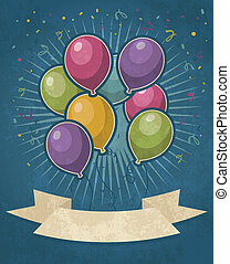 retro, party, luftballone