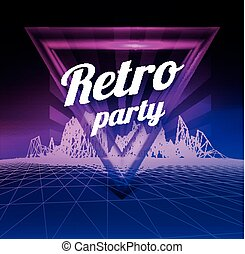 Retro party poster. 1980 style. Vector illustration