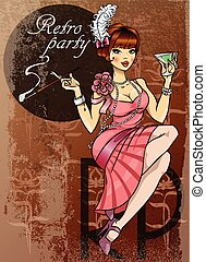 Retro Party Poster design with Flapper Girl