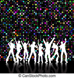 Retro styled colourful background with people dancing