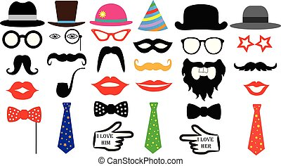 Retro party set. Glasses, hats, lips, mustaches, tie, monocle. Isolated vector.