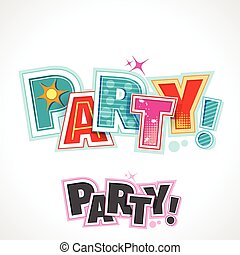 Retro Party Text, Vector Lettering Invitation