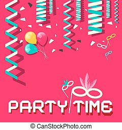 Retro Party Time Vector Flat Design Illustration with Confetti and Balloons on Pink Background