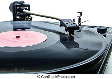 retro, partyjny didżej, tarcza obrotowa, żeby odegrać, muzyka, na, winyl, dźwiękowy, disc.hifi, audiophile, obrót, stół, device.