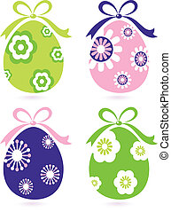 retro, pasqua, floreale, uova, set, isolato, bianco