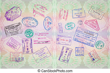 retro, passaporte, selos
