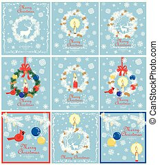 Retro pastel blue Christmas cards collection for winter holidays with paper cut out xmas wreath with conifer branches, cone, candle, reindeer, snowflakes, hanging northern cardinal bird toy and balls