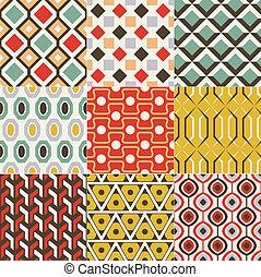 retro, patrón, seamless, geométrico