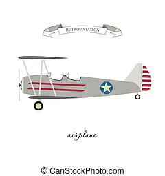 Retro pattern airplane in a flat style