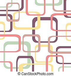 Retro pattern background with squares - rounded