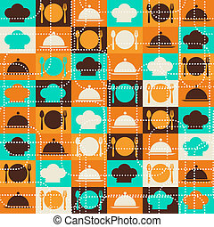 retro, pattern., seamless, cozinha