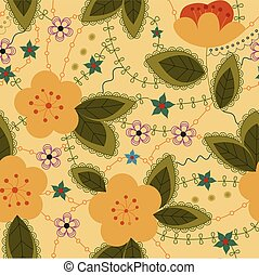 Retro pattern with apple flowers
