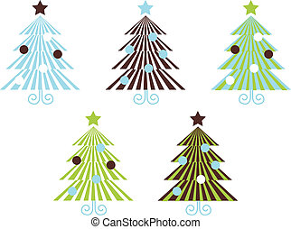 Retro Patterned vector Christmas Trees isolated on white