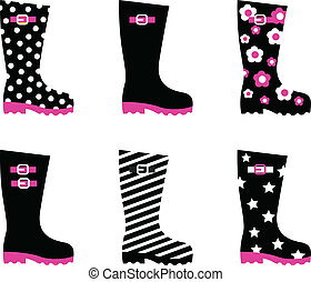 Retro patterned wellington rain boo - Vector collection of...