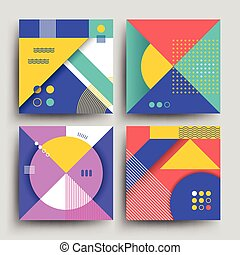 Retro patterns with abstract simple geometric shapes vector design for covers, placards, posters, flyers and banner