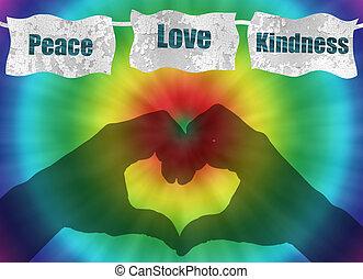 retro, paz, amor, e, bondade, imagem, com, laço-tintura