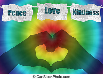 retro peace, love and kindness image with rainbow tie-dye