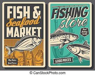 retro, peixe, marisco, loja, cartazes, mercado
