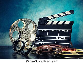 retro, película, producción, accesorios, naturaleza muerta