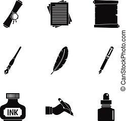 Retro pen icon set, simple style - Retro pen icon set....