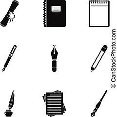 Retro pen type icon set, simple style - Retro pen type icon...
