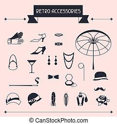 retro, personal, accesorios, iconos, y, objetos, de, 1920s,...