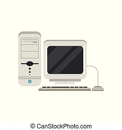 Retro personal computer vector Illustration on a white background