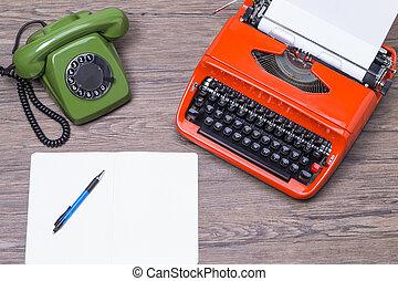 Retro phone and typewriter