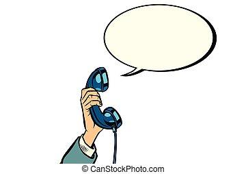 retro phone handset in male hand