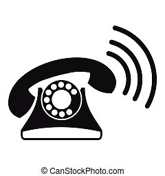 Retro phone icon, simple style