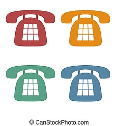 Retro Phone Icons - Red, Orange, Green and Blue Phone Icons,...