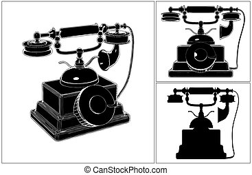 Retro Phone Isolated On White...