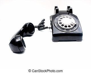 retro black desk phone with receiver off the hook. Horizontal on white with plenty of copyspace.