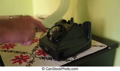 retro phone - using retro phone, calling rotary telephone