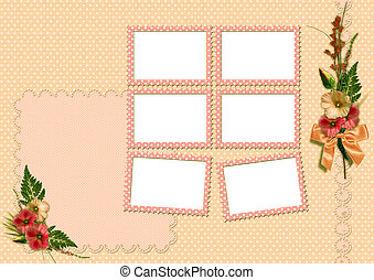 Retro photo album. The frame is decorated with a bouquet of...