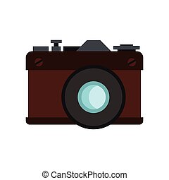 Retro photo camera icon, flat style