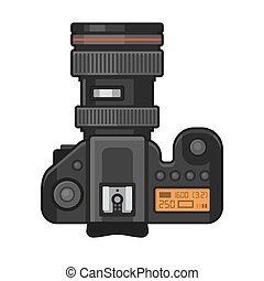 Retro Photo Camera Icon on White Background. Vector