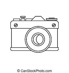 Retro photo camera icon, outline style