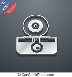 retro photo camera icon symbol. 3D style. Trendy, modern design with space for your text Vector